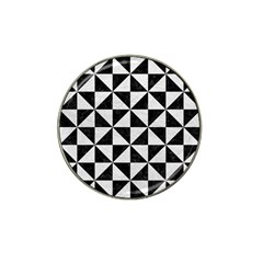 Triangle1 Black Marble & White Leather Hat Clip Ball Marker (10 Pack)
