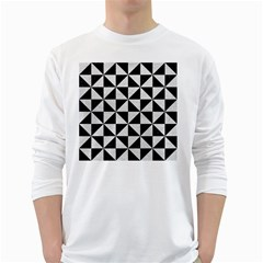 Triangle1 Black Marble & White Leather White Long Sleeve T Shirts