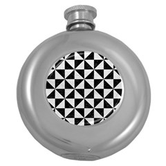 Triangle1 Black Marble & White Leather Round Hip Flask (5 Oz)