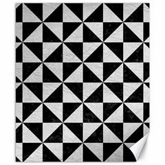 Triangle1 Black Marble & White Leather Canvas 8  X 10