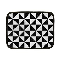 Triangle1 Black Marble & White Leather Netbook Case (small)