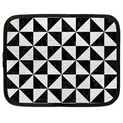 Triangle1 Black Marble & White Leather Netbook Case (large)