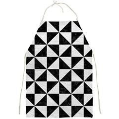 Triangle1 Black Marble & White Leather Full Print Aprons