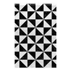 Triangle1 Black Marble & White Leather Shower Curtain 48  X 72  (small)