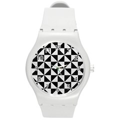 Triangle1 Black Marble & White Leather Round Plastic Sport Watch (m)