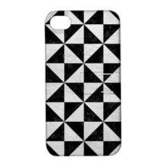 Triangle1 Black Marble & White Leather Apple Iphone 4/4s Hardshell Case With Stand