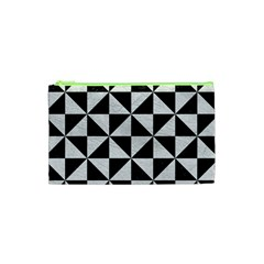 Triangle1 Black Marble & White Leather Cosmetic Bag (xs)