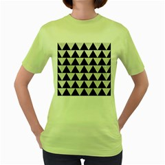 Triangle2 Black Marble & White Leather Women s Green T Shirt