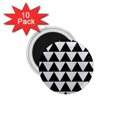 Triangle2 Black Marble & White Leather 1 75  Magnets (10 Pack)
