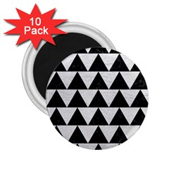 Triangle2 Black Marble & White Leather 2 25  Magnets (10 Pack)