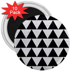 Triangle2 Black Marble & White Leather 3  Magnets (10 Pack)