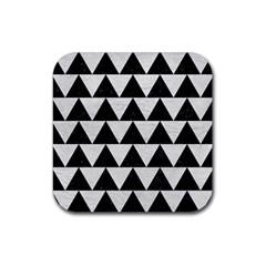 Triangle2 Black Marble & White Leather Rubber Coaster (square)