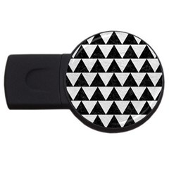 Triangle2 Black Marble & White Leather Usb Flash Drive Round (2 Gb)