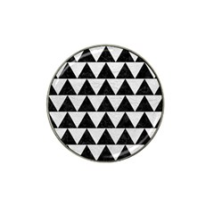 Triangle2 Black Marble & White Leather Hat Clip Ball Marker (10 Pack)