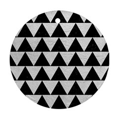 Triangle2 Black Marble & White Leather Round Ornament (two Sides)