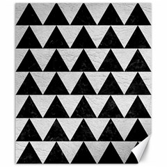Triangle2 Black Marble & White Leather Canvas 20  X 24