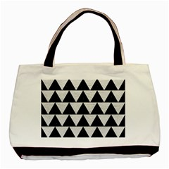 Triangle2 Black Marble & White Leather Basic Tote Bag (two Sides)