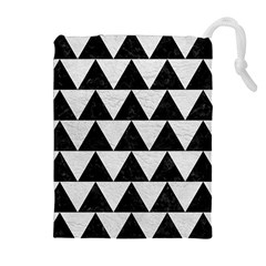 Triangle2 Black Marble & White Leather Drawstring Pouches (extra Large)