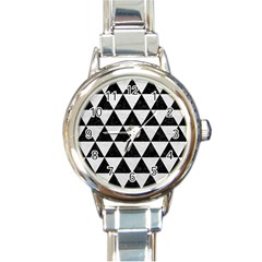 Triangle3 Black Marble & White Leather Round Italian Charm Watch