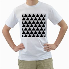 Triangle3 Black Marble & White Leather Men s T Shirt (white) (two Sided)