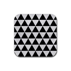 Triangle3 Black Marble & White Leather Rubber Square Coaster (4 Pack)