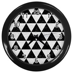 Triangle3 Black Marble & White Leather Wall Clocks (black)