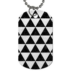 Triangle3 Black Marble & White Leather Dog Tag (one Side)