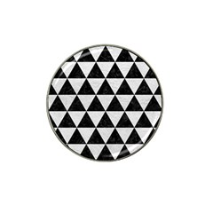 Triangle3 Black Marble & White Leather Hat Clip Ball Marker