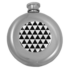 Triangle3 Black Marble & White Leather Round Hip Flask (5 Oz)