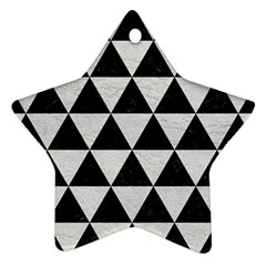 Triangle3 Black Marble & White Leather Star Ornament (two Sides)