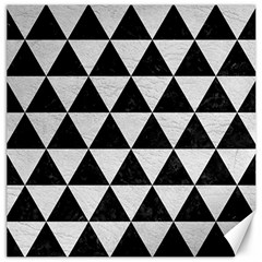 Triangle3 Black Marble & White Leather Canvas 12  X 12