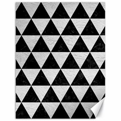 Triangle3 Black Marble & White Leather Canvas 18  X 24