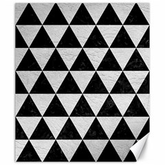 Triangle3 Black Marble & White Leather Canvas 20  X 24