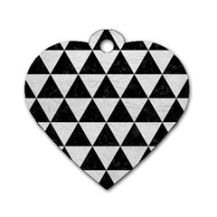 Triangle3 Black Marble & White Leather Dog Tag Heart (two Sides)