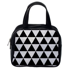 Triangle3 Black Marble & White Leather Classic Handbags (one Side)