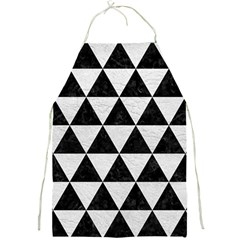 Triangle3 Black Marble & White Leather Full Print Aprons