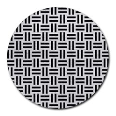 Woven1 Black Marble & White Leather Round Mousepads