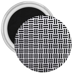 Woven1 Black Marble & White Leather 3  Magnets