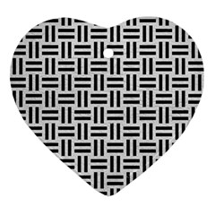 Woven1 Black Marble & White Leather Ornament (heart)