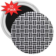Woven1 Black Marble & White Leather 3  Magnets (10 Pack)