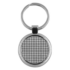 Woven1 Black Marble & White Leather Key Chains (round)