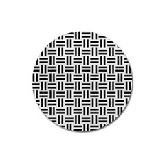 Woven1 Black Marble & White Leather Magnet 3  (round)