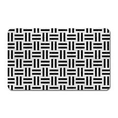 Woven1 Black Marble & White Leather Magnet (rectangular)