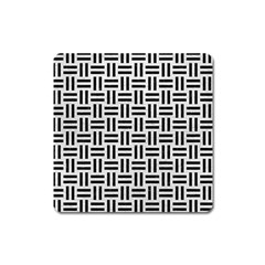 Woven1 Black Marble & White Leather Square Magnet