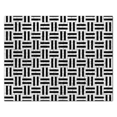 Woven1 Black Marble & White Leather Rectangular Jigsaw Puzzl