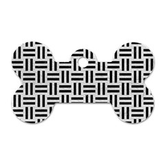 Woven1 Black Marble & White Leather Dog Tag Bone (one Side)