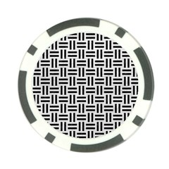 Woven1 Black Marble & White Leather Poker Chip Card Guard