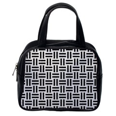 Woven1 Black Marble & White Leather Classic Handbags (one Side)