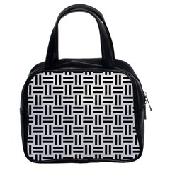 Woven1 Black Marble & White Leather Classic Handbags (2 Sides)