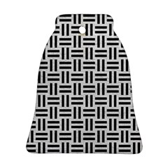Woven1 Black Marble & White Leather Bell Ornament (two Sides)